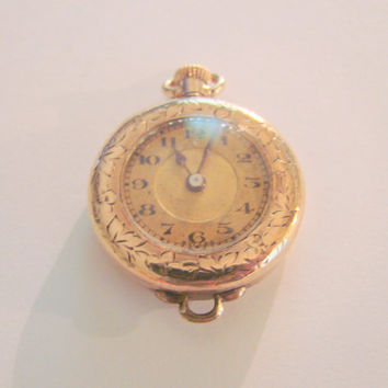 Antique A. Lecoultre Swiss 15 Jewels Gold Filled Ladies Lapel Pendant Watch / Vintage / Jewelry / Jewellery