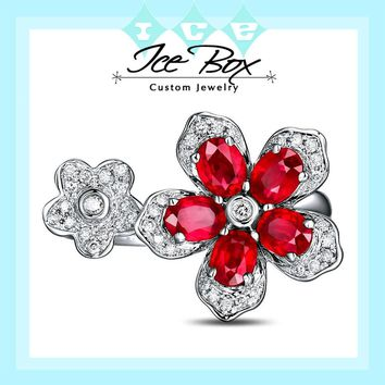 Ruby Floral Ring  1.35cttw. Oval Rubies Ruby set in a 14k White Gold Diamond Floral Setting