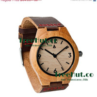 SALE Personalized Minimalist Engraved Wooden Watch with Genuine Leather, Mens watch, Groomsmen gift, Wood Watch Bamboo Watch HUT005