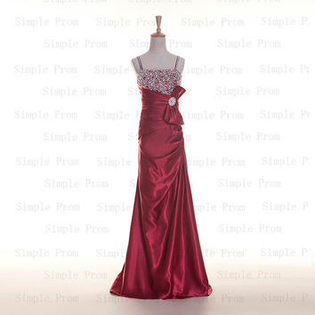 Custom A-line Straps Sleeveless Floor-length Taffeta Sequins Fashion Prom Dress Bridesmaid Dress Formal Evening Dress Party Dress 2013