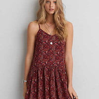 AEO Babydoll Slip Dress , Red