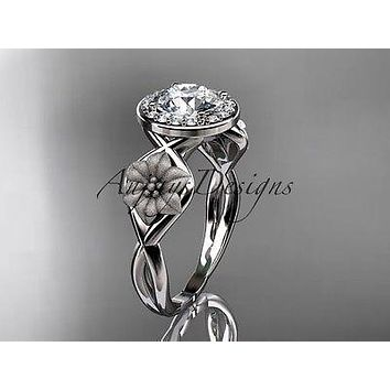 Unique platinum diamond flower wedding ring, engagement ring ADLR219P