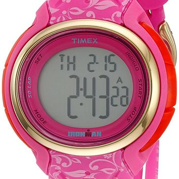 Timex Women's TW5M03000 Ironman 50 Lap Pink Floral Silicone Strap Digital Watch