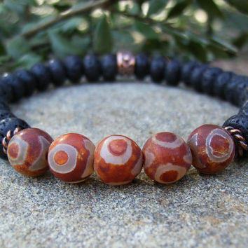 Men's Black and Red Bracelet, Lava Stone, Tibetan Three Eye Agate Gemstones, Copper, Rustic, Tribal, Unisex, Stretch, Casual Jewelry, Gift