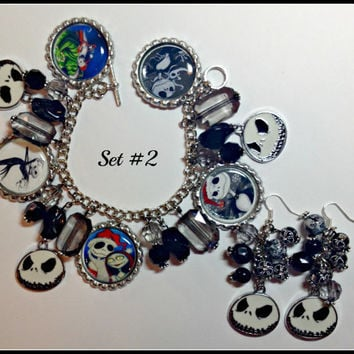 Nightmare Before Christmas Jack Skellington  Custom Made Charm/Bottle Cap Bracelet & Earring Set #2 Jack and Sallyset