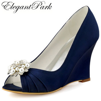 Women Wedges Peep Toe High Heel Shoes Navy Blue  Pearls Clips Satin Bride Bridesmaid Wedding Bridal Shoes Prom Pumps WP1549 Mint