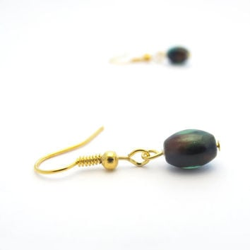 Small Green & Brown Earrings, Minimalist Jewelry