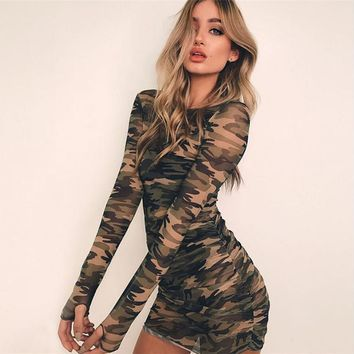 Summer New Women Dress O-neck Long Sleeve Bodycon Mesh Dress Camouflage Print Slim Causal Short Mini Dress designer clothes