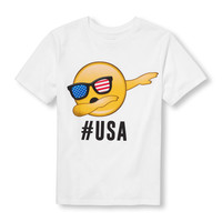 Boys Short Sleeve 'Hashtag USA' Dancing Emoji Graphic Tee | The Children's Place