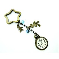 Around the clock 2 bears blue crystals star keychain