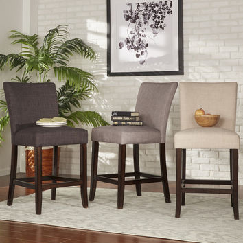 TRIBECCA HOME Parson Classic Linen Counter Height Chairs (Set of 2) | Overstock.com Shopping - The Best Deals on Bar Stools