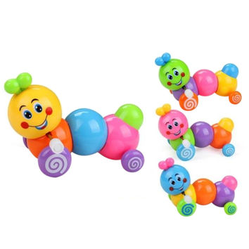 Cute 2017 Baby Kids Toys Harmless PE Plastic Caterpillar Vintage Clockwork Toys Educational Gifts Kids Wind Up Toys For Children