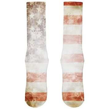PEAPGQ9 4th of July American Flag Star Spangled Banner All Over Soft Socks