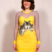 Yellow and Polka Dot 3 Wolves Dress MADE TO ORDER
