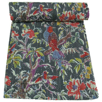 """60x90"""" Indian Queen Kantha Quilt Floral Bedspread Blanket Bed Cover Throw Coverlet Ethnic India Decorative Art"""