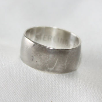 Sterling Ring Engagement Cigar Band 1960s Jewelry Wedding  Ring