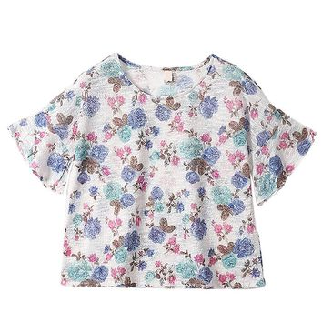 Fresh Spring Floral Rose Flare Sleeve Knitwear Top Shirt