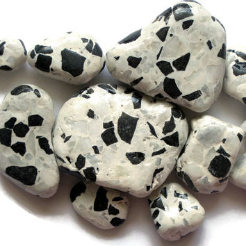 White Terrazzo Tile Nuggets Surf Tumbled Tile Beach Pottery 12 Pcs Glazed Crafts Mosaics Garden Terrarium Upcycle Recycle Eco Friendly