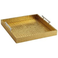 Faux Croc Tray - Square Gold