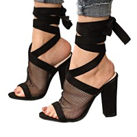 Nala Netted Lace Up Black Sandals