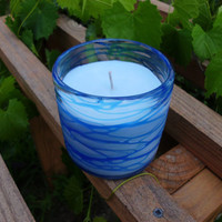Handmade Creme Candle, Sea Breeze Scented, in Decorative Glass Holder