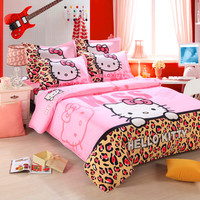 Home Textiles,Brand Logo Hello Kitty Bedding Set,Child Cartoon Pattern,Include Duvet Cover Bed Sheet Pillowcase Free Shipping