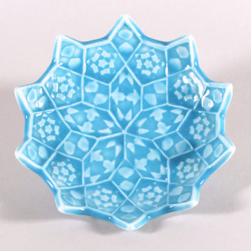 Turquoise Star Ring Dish - Lotus Flower Ceramic Soap Dish