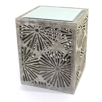 Rustic Floral Wooden Mirror End Table/Tea Table