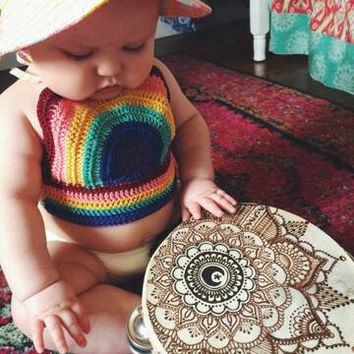 Crocheted Rainbow Halter, Kids Crop Top, Girls rainbow top, Baby summer top, Baby Hippie Top, Baby Halter top,Chidrens Fashion, Kids Fashion