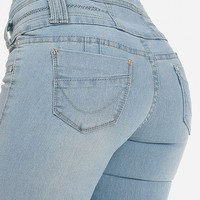 Light Denim Butt Lifting Skinny Jeans