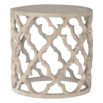 Clover Large Round End Table Smoke Gray Recycled Wood
