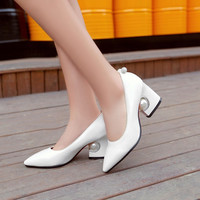 Pointed Toe Rhinestone Pearl Chunky Heel Pumps Wedding Shoes 6955
