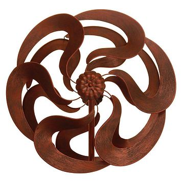 Bronze Flower Windmill Stake