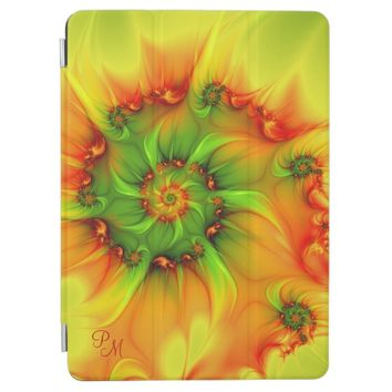 Hot Summer Green Orange Abstract Fractal Monogram iPad Pro Cover