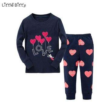 Girls 2 Piece Cotton Printed Pajama Set