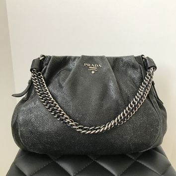 Prada Black Crinkled Leather Shoulder Bag