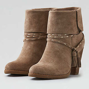 AEO Suede Heeled Bootie , Taupe