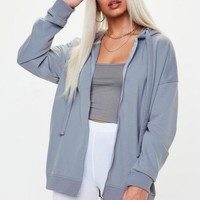 Missguided - Blue Oversized Zip Through Hoodie