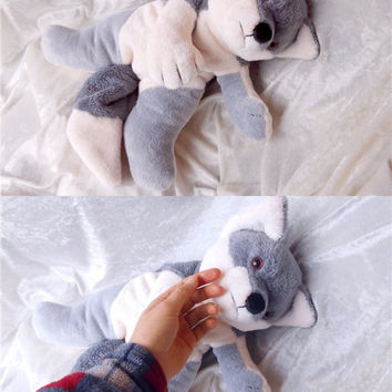 WOLF plush stuffed animal SIBERIAN HUSKY soft toy Handmade Akita decor mix breed stuffed sledge dog soft toy ooak Fox puppy black white gray