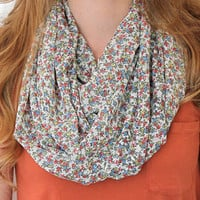 Floral Eternity Scarf, Infinity Scarf, Circle Scarf, Cream, Peach Yellow, Blue, Green