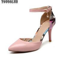 Women Ankle Strap Valentine Shoes Sexy Ladies High Heels Fashion Pointed toe Green Pink White Ladies Thin Heel Woman Party shoe
