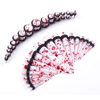 BodyJ4You Gauges Kit Red White Marble Color Acrylic Tapers Plugs Earrings 14G-00G Body Piercing Jewelry 36 Pieces