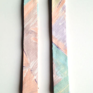 Handmade Skinny Necktie / Brushed Pastel / Teal, Purple, Coral, Brown / Mens Tie