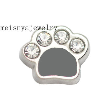 10pcs black enamel dog paw floating charms for glass locket,FC-054.Min amount $15 per order mixed items