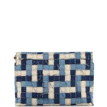 Loewe Woven Denim T Pouch Bag, Blue