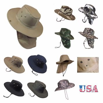 4983ce508cb Bucket Cap Hunting Fishing Hiking Military Snap Brim Neck Cover