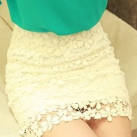 Beautiful White High Waisted Lace Mini Skirt from Fashionable