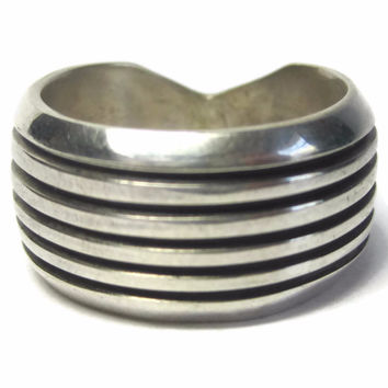 "Mens Navajo Sterling Overlay ""Track"" Ring by Philbert Begay Size 9"