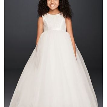 Ball Gown Flower Girl Dress with Heart Cutout - Davids Bridal
