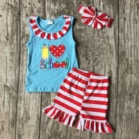 Girls Back to school outfit  with matching headband